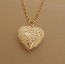 "LOVE Heart Shaped Locket, Pendant & 18"" Chain, Gold Plated"