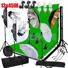 Photography Studio Softbox Backdrop Umbrella Lighting Kit Background Stand Set