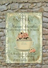 Shabby Chic Wall Plaque Art Patisserie Cupcake and Roses (Ref 7)
