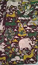 Cotton kalamkari screen print fabric - 100 cms  by 43 inches Ashram deep b