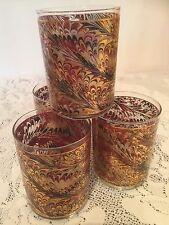 Set of 4 Vtg CULVER Double On The Rocks Glasses Silk Screened Gold Burgundy 1987