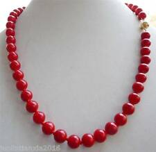14K 8mm Red Sea Coral Gems Round Bead Necklace 18''