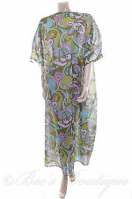 Ladies Nightdress Green Retro Design Nightie Kaftan Night Dress Size M Chemise