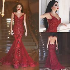 2016 Mermaid Long Red Prom Dresses with Illusion Back Formal Evening Party Gowns