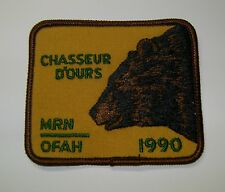 1990  RARE MNR,ONTARIO, FRENCH BEAR Hunting Patch,Crest, [deer,bear,moose,elk]