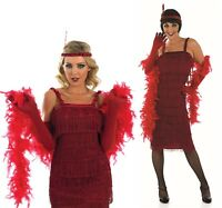 Ladies Red 1920s Gatsby Flapper Fancy Dress Costume Outfit UK 8-30 Plus Size