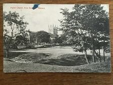 HORNSEA POSTCARD East Yorkshire 1906 Posted Church from Eastgate Hall Garth Park