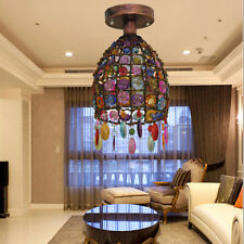 Retro Iron Color Crystal Pendant Lamp Nepal Style  Chandelier Ceiling Light LED