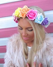 Arco Iris Multi Color Rosa Flor Corona Cabello Head Band choochie Choo Bohemio