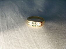 Etruscan Estate 14K Yellow Gold Diamond Emerald Ruby Sapphire Wedding Band Ring