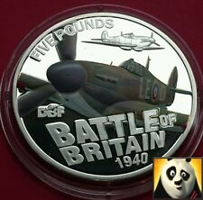 2010 GUERNSEY £5 Five Pound Battle Of Britain Hurricane Silver Proof Coin
