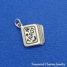 .925 Sterling Silver TAROT CARDS CHARM Psychic Reading Pagan Occult PENDANT *NEW