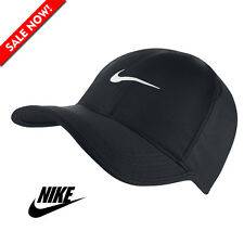 New NIKE Dri-Fit Feather Light Running Tennis Hat Cap Swoosh BLACK / WHITE