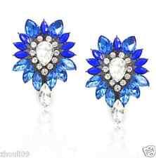 New Woman Statement clear crystal Rhinestone long Ear Studs hoop earrings 1046