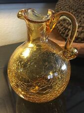 """Vintage Art Blenko Glass 6 1/4"""" Crackle Pinched Yellow Pitcher"""