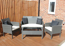 WICKER SET TABLE, SOFA CHAIR All Weather Garden Conservatory Weave Rattan Cream