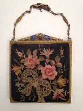 """ANTIQUE 1900 EMBROIDERED PURSE, 5"""" SQUARE HINGED GOLDEN FRAME, JEWELED FILIGREE"""