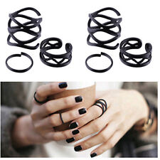 Fashion 6PCS Punk Black Stack Plain Above Knuckle Ring Finger Midi Rings Set