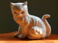 Vintage large white china cat figurine with gold whiskers and ear highlight