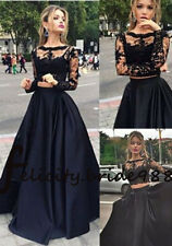 2016 New Style Sexy Two Pieces Lace Black Party Dresses Long Prom Evening Gowns