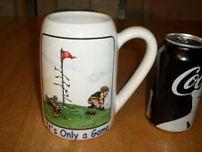 "GOLF - "" IT'S ONLY A GAME "", CERAMIC BEER STEIN / MUG, DRAWING BY GARY PATTERSON"