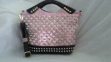 BEAUTIFUL PINK METALIC ALLIGATOR DESIGN PATENT RHINESTONE AND STUD TOTE HANDBAG