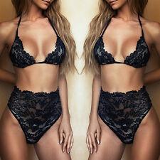 Womens-Sexy Lingerie Nightwear Lace Dress Sleepwear Bra G-String Underwears Sets