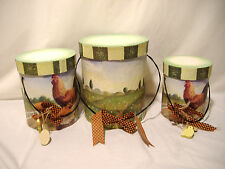 3 Lot VTG Nesting Stacking Chicken Farm Cardboard Containers Storage Round Boxes