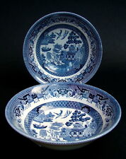 "TWO Churchill Blue Willow Pattern 6"" Soup Cereal or Dessert Bowls 15.5cm UNUSED"