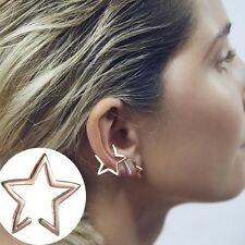 UK STOCK  Gold Plated STAR XMAS PARTY GIFT  Punk Ear Cuff Earring Clip On
