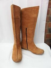 CAMEL ACTIVE UK 6.5 / 40 Tan Brown suede leather knee high flat boots VGC