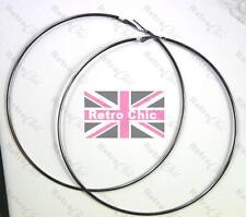 "GIANT 4.75"" HUGE HOOPS 12cm GUNMETAL grey black gold BIG HOOP EARRINGS thin 2mm"