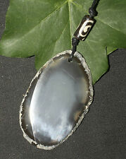 Grey Agate Gemstone Scrying Mirror Pendant Wicca, Pagan, Witchcraft, divination