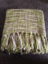 SAGE GREEN GREY CREAM FRINGED THROW BLANKET 127cm x 152cm Next Day Despatch