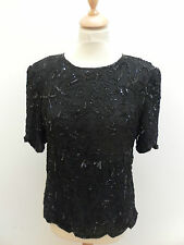 BNWT Theory Black Silk Embellished/Beaded Blouse Top-Size 12/14