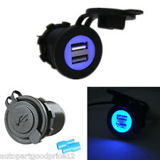 12V-24V Dual USB Car SUV Blue LED Angel Eye Charging Socket Power Adapter Outlet
