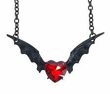 Red Heart Stone Black Bat Wings Necklace Gothic Punk Grunge Vampire Dracula