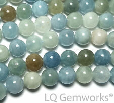"15"" Blue Green AQUAMARINE BERYL 10mm Round Beads NATURAL /A10"