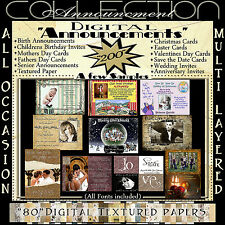Digital Announcements Invitations Greeting Cards Backgrounds Photoshop Overlay n