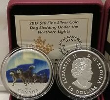 2017 Under Northern Lights $10 1/2OZ Pure Silver Proof Coin Canada: Dog Sledding