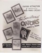 Ortons Doris and Vern- Circus Advertisement- 8 X 10 Circus photo