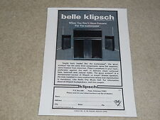 Klipsch Belle Klipsch Speaker Ad, 1973, 1 page, Frame it! One of Paul's Best
