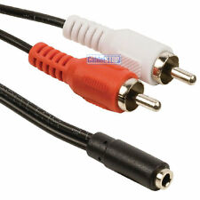 RCA Phono Audio Splitter Adapter TWIN RCA to 3.5mm STERO Socket Aux Cable Lead