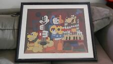 RARE Large Framed Print Disney Characters Playing Musical Instruments CUBISM Art