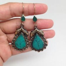 Afghan Turkmen Tribal TearDrop Shape Turquoise Inlay kuchi Earring Alpaca Silver