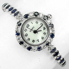Sterling Silver 925 Stunning Round Faceted Genuine Sapphire & C Z Watch 7 Inch