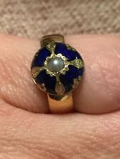 ANTIQUE 22CT GOLD BLUE ENAMEL PEARL BUTTON BESPOKE PINKY RING UNUSUAL!