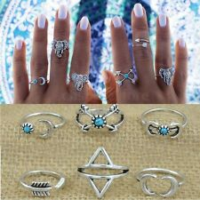 Kit 6Pcs Anillos Turquesa Aleación Knuckle Dedo Medio Nudillo Midi Rings Regalo