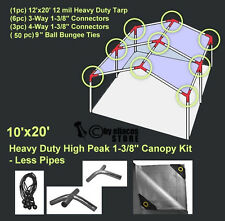 10' x 20' Heavy Duty 1-3/8'' High Peak Carport Canopy Kit LESS PIPE POLES Silver