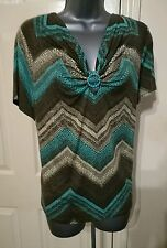 BLOUSE TOP XXL PLUS STRETCH GREEN BROWN GEOMETRIC PRINT WORK OFFICE CASUAL CC